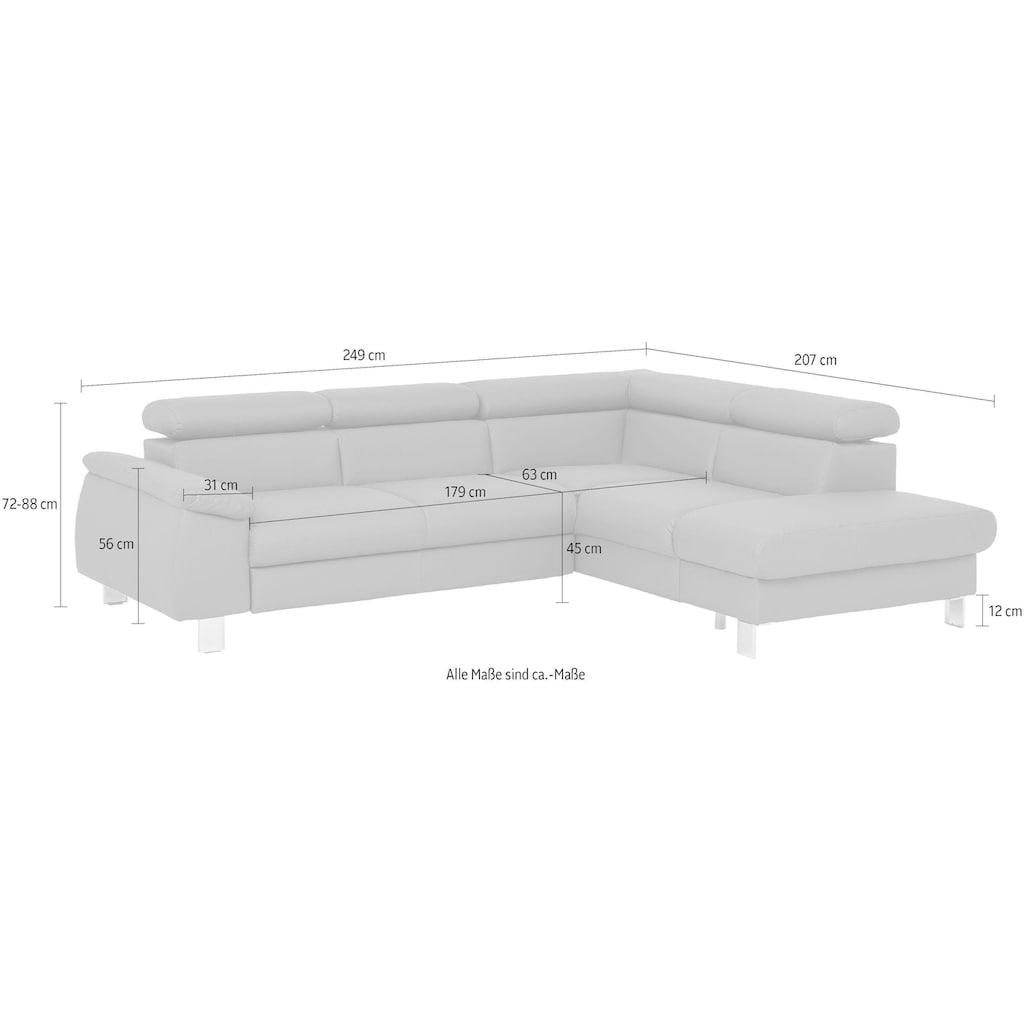 COTTA Polstergarnitur »Komaris«, (Set), Set: bestehend aus Ecksofa und Hocker, Ecksofa inklusive Kopfteilverstellung, wahlweise Bettfunktion/Bettkasten, LED/RGB