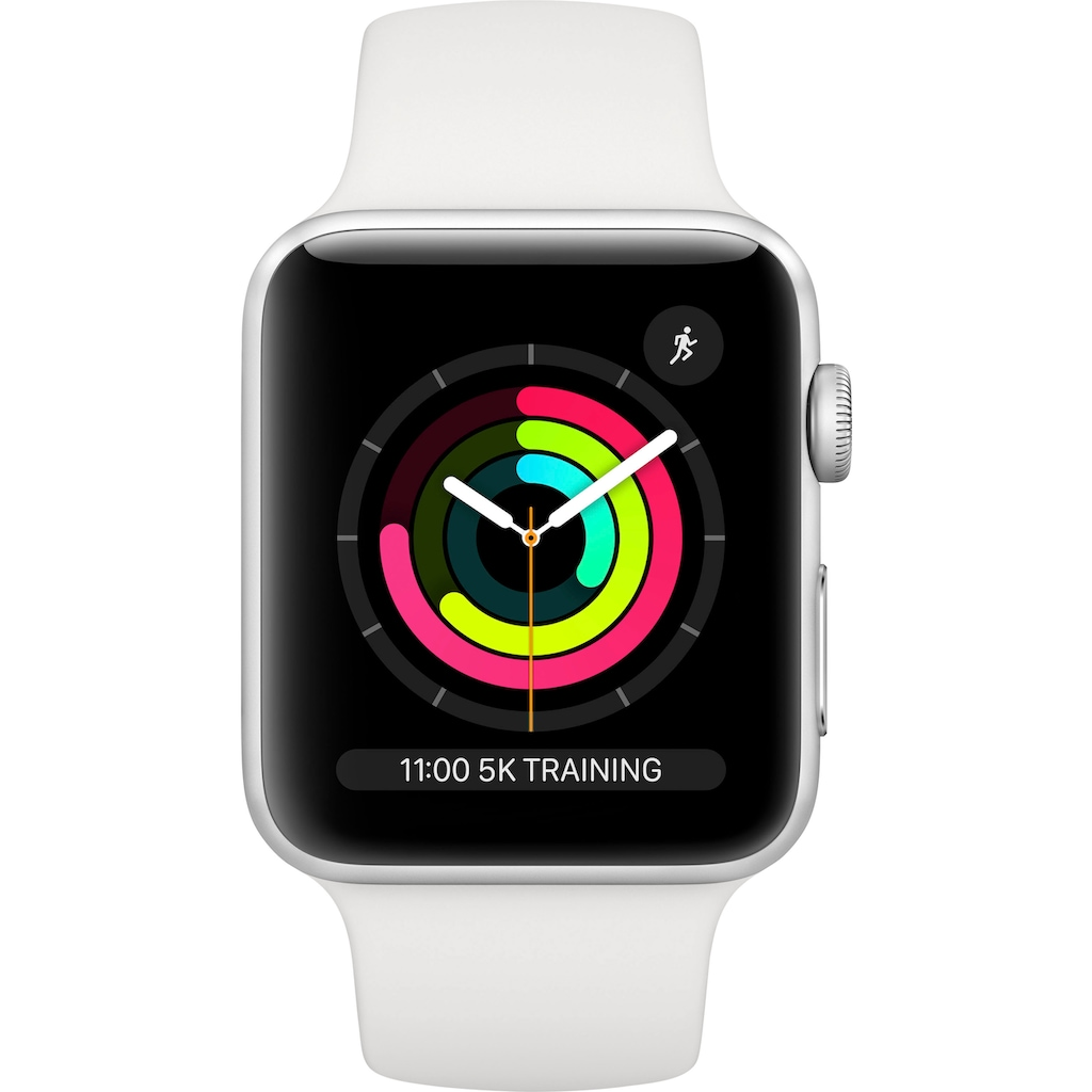 Apple Watch »Series 3 GPS, Aluminiumgehäuse mit Sportarmband 42mm« (, Watch OS 5, inkl. Ladestation (magnetisches Ladekabel)