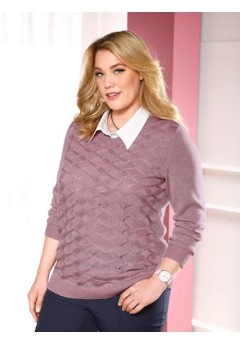 m. collection V-Ausschnitt-Pullover, mit leicht transparentem Strickmuster-Mix im Vorderteil kaufen