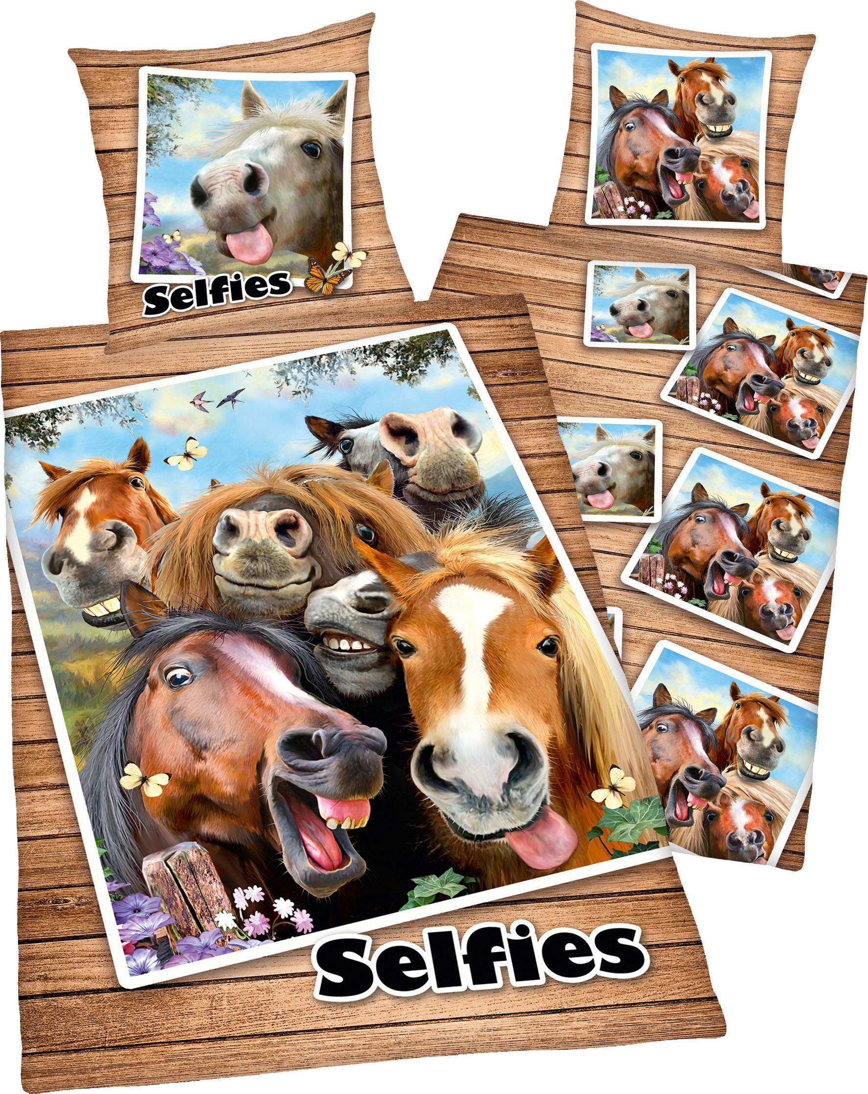 Kinderbettwäsche Selfies Pferde