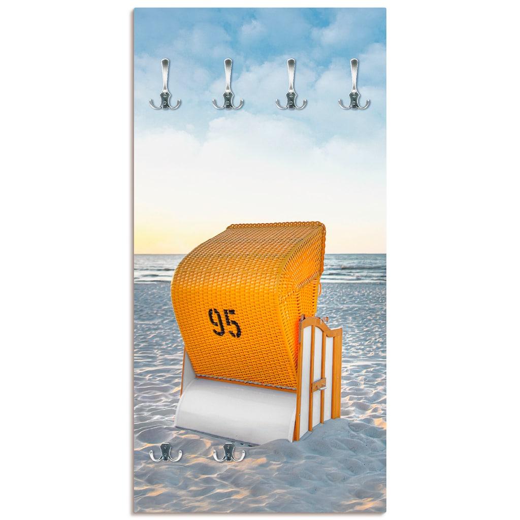 Artland Garderobe »Ostsee7 - Strandkorb«, platzsparende Wandgarderobe aus Holz mit 6 Haken, geeignet für kleinen, schmalen Flur, Flurgarderobe