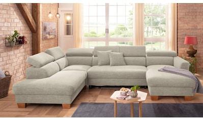 Home affaire Wohnlandschaft »Steve«, mit Kopfteilverstellung, auch mit Bettfunktion + Bettkasten, incl. Zierkissen kaufen