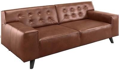 TOM TAILOR 2,5-Sitzer »NORDIC CHIC«, mit Kedernaht und Knöpfung, Füße Buche wengefarben kaufen