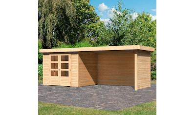 WOODFEELING Set: Gartenhaus »Askola 3«, BxT: 529x238 cm, mit Anbaudach kaufen