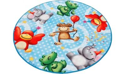 Böing Carpet Kinderteppich »Lovely Kids LK-4«, rund, 2 mm Höhe, Motiv Zootiere,... kaufen