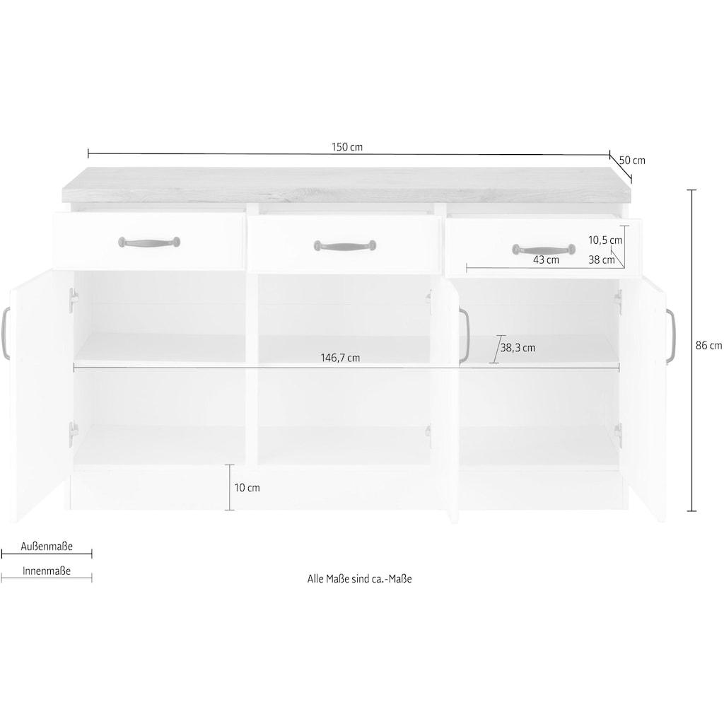 wiho Küchen Unterschrank »Erla«, 150 cm breit mit Kassettenfront