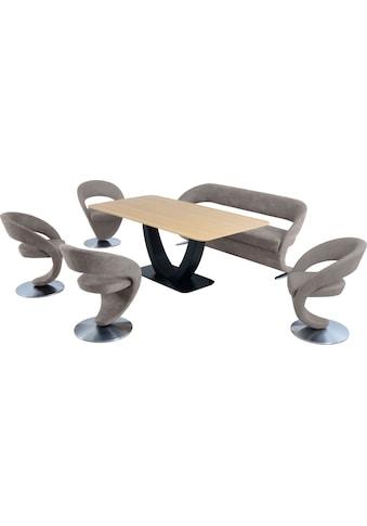 K+W Komfort & Wohnen Essgruppe »Wave«, (Set), Design-Solobank mit 4 Design-Drehstühlen und Tisch in 180x90cm, Tischplatte Wildeiche bianco, Füße Bank / Stühle Edelstahloptik gebürstet kaufen