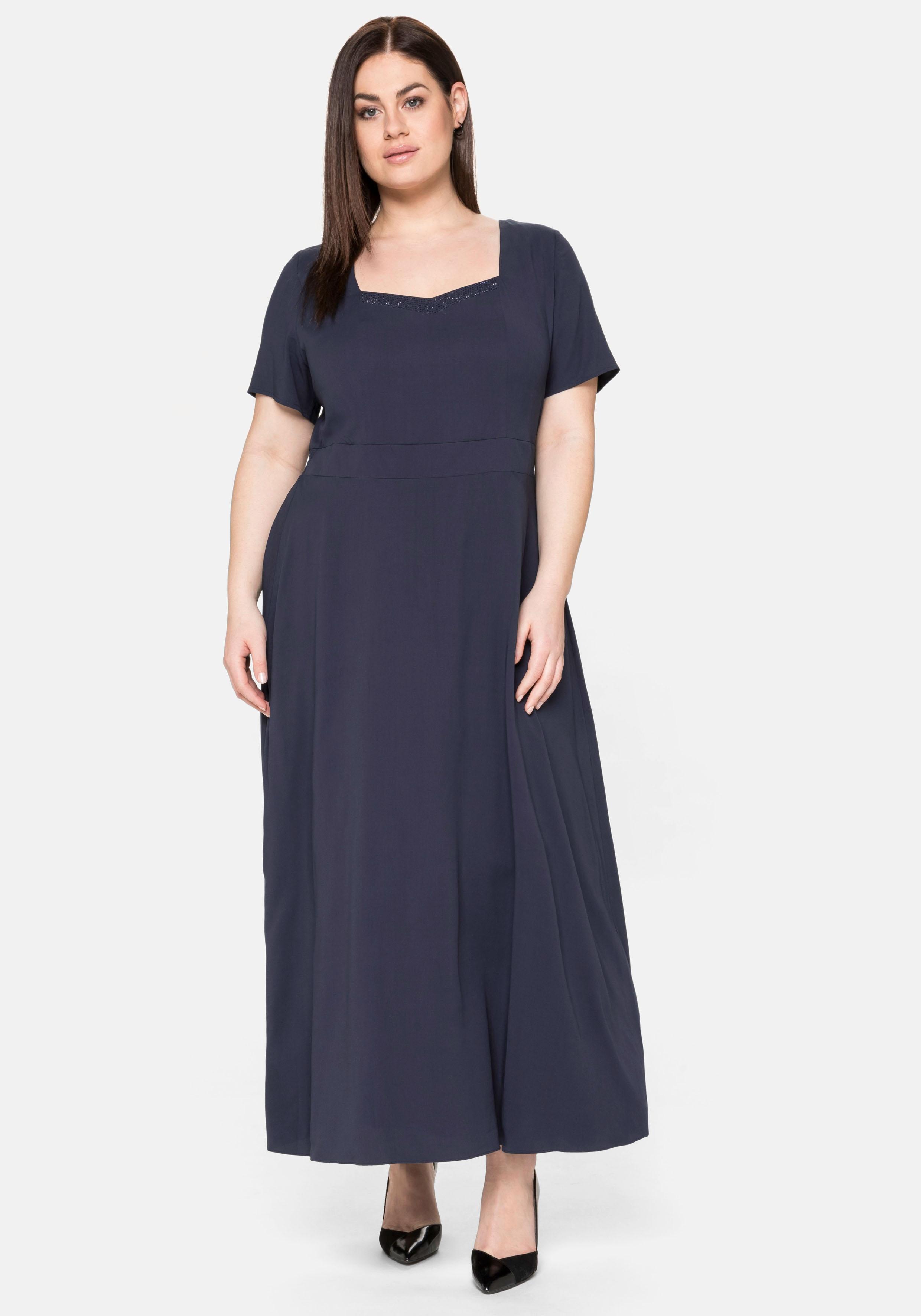 Sheego Abendkleid, mit Schmucksteinen blau Damen Abendkleider Kleider Abendkleid