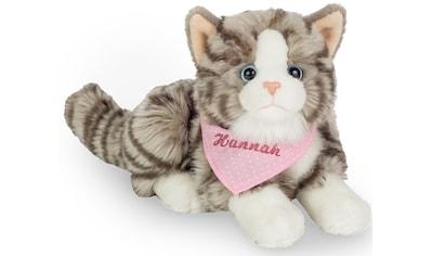 Teddy Hermann® Kuscheltier »Katze grau mit rosa Halstuch, 20 cm«, mit individueller... kaufen