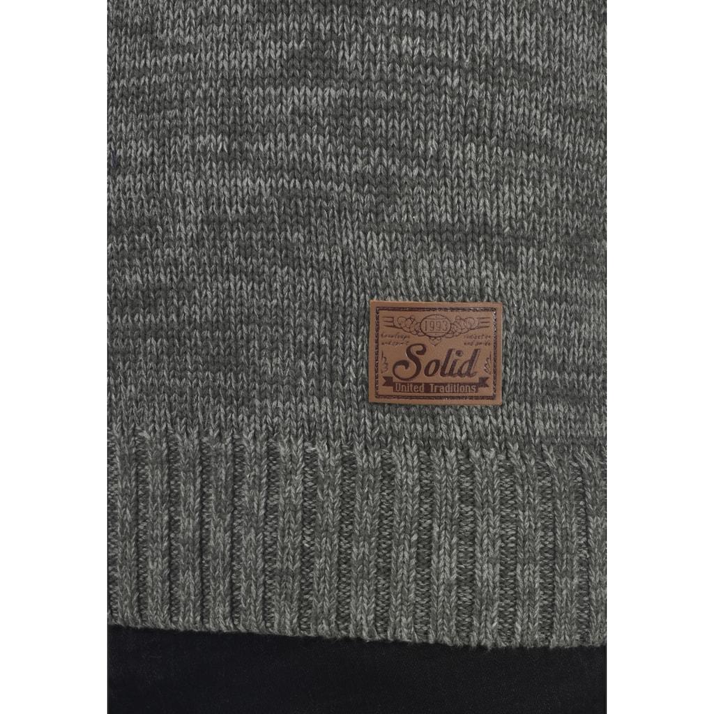 Solid Schalkragenpullover »Phil«, Strickpulli in Melange-Optik