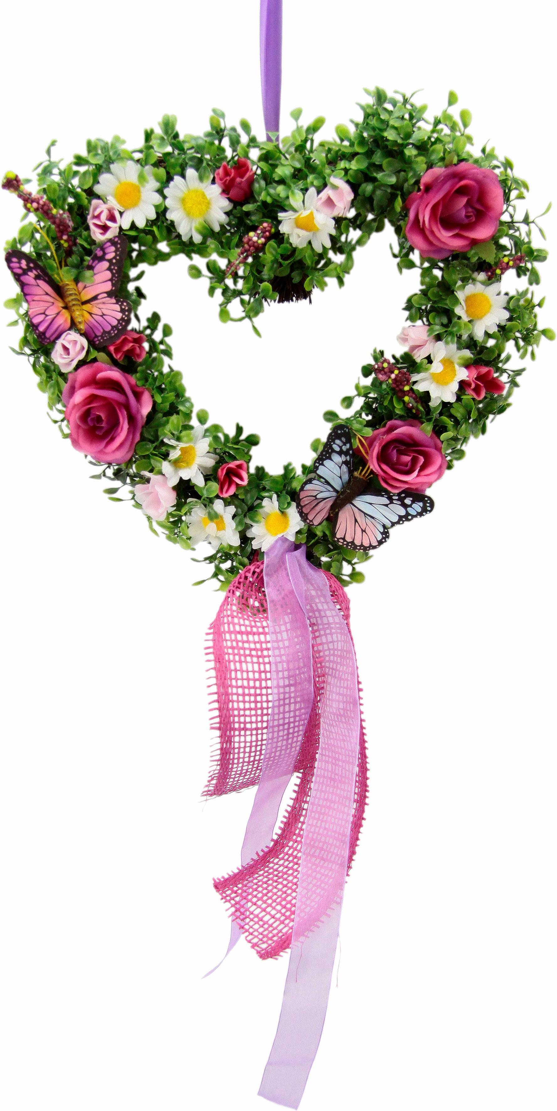 Kunstpflanze Rattan-Herz Buchs/Ranunkel 31 cm (1 Stück) rosa Kunstpflanzen Pflanzen Garten Balkon