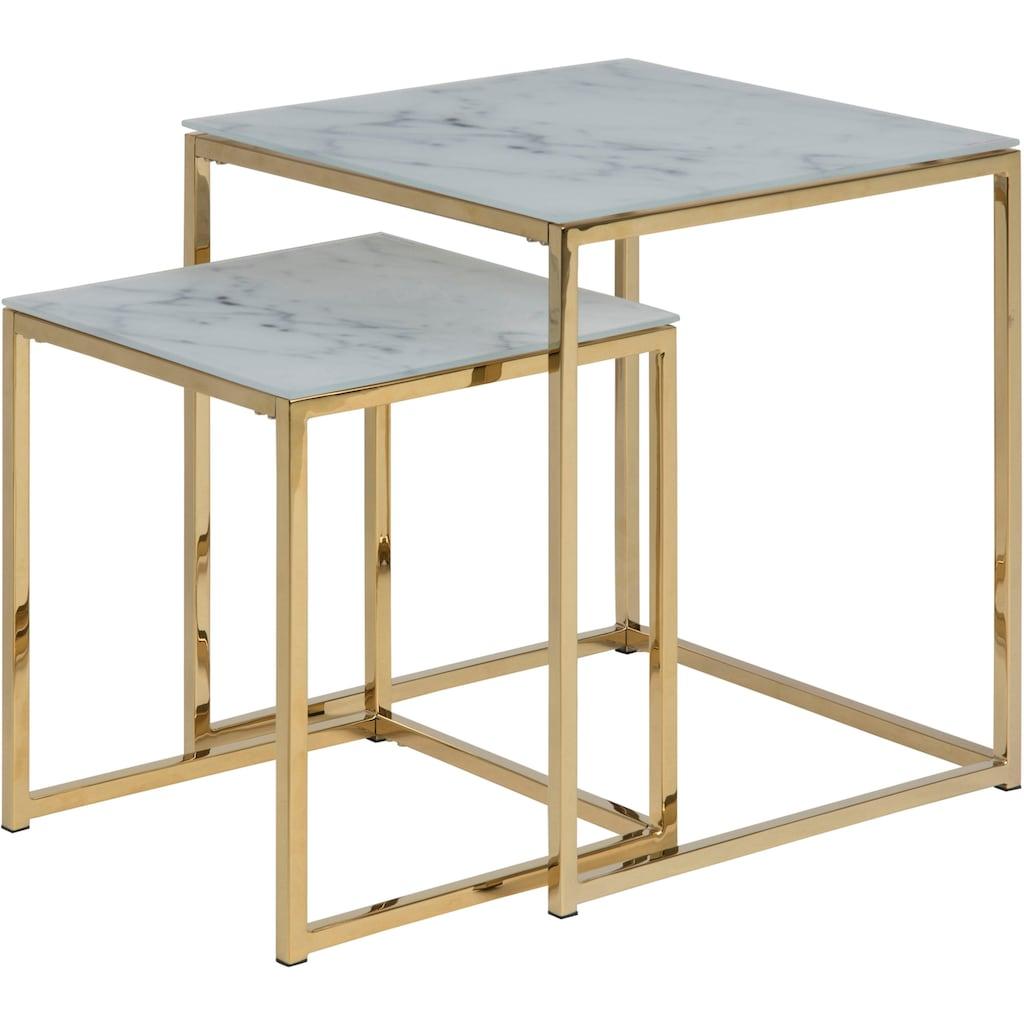 andas Beistelltisch »Alina«, (Set, 2 St.), mit Glastischplatte mit Mamor Print und Gestell aus Metall