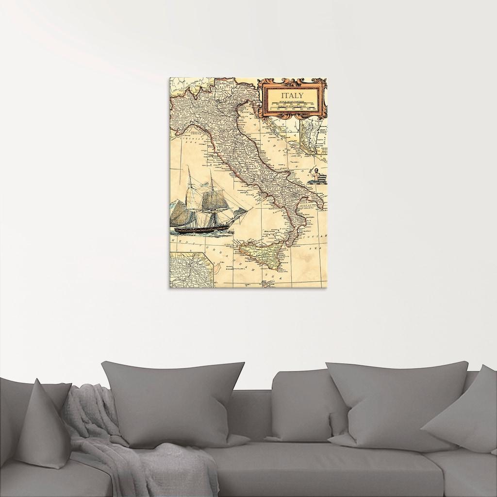 Artland Glasbild »Italienkarte«, Landkarten, (1 St.)