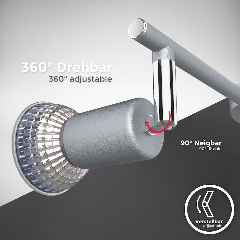 B.K.Licht Deckenleuchte, GU10, 1 St., 3-flammiger LED Deckenspot, 3x 5W Leuchtmittel GU10, 3x 400lm, dreh- schwenkbar, IP20, 4000K neutralweiß, Titanfarbig