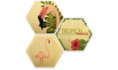 Wall-Art Mehrteilige Bilder »Goldeffekt Flamingo Wanddeko«, (Set, 3 St.) kaufen