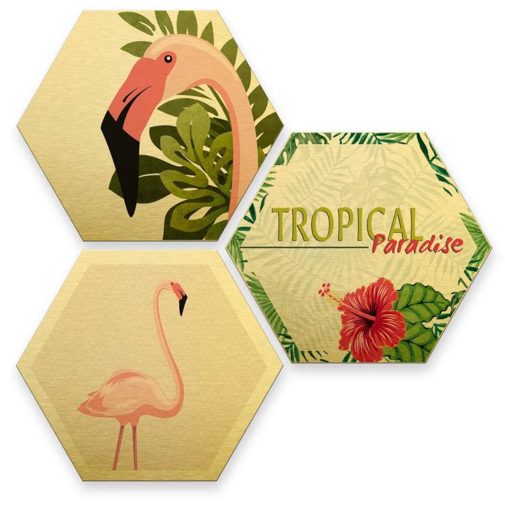 Wall-Art Mehrteilige Bilder »Goldeffekt Flamingo Wanddeko«, (Set, 3 St.)