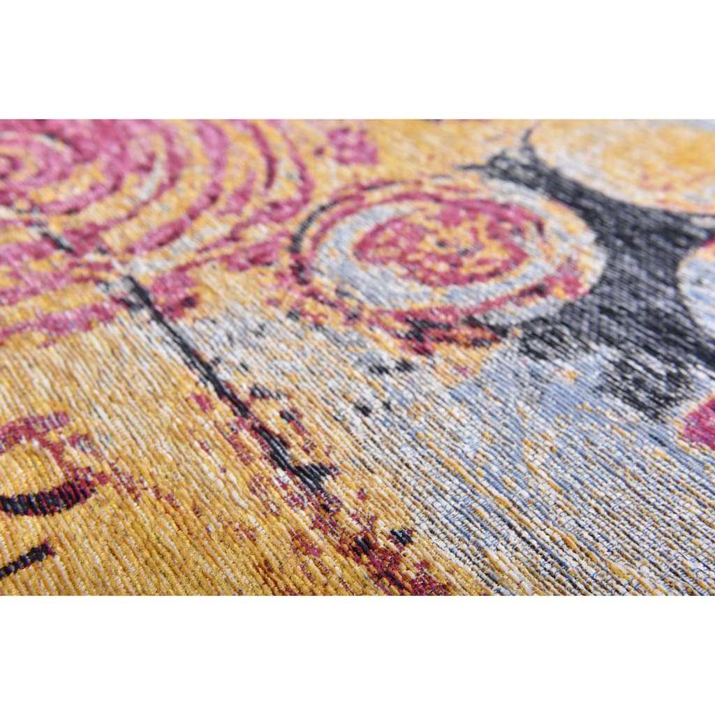 Gino Falcone Teppich »Cosima-109«, rund, 3 mm Höhe, flachgeweber Jaquard-Teppich, mit Chenillegarn, modernes Design, Wohnzimmer