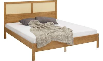 Home affaire Bett »Owen«, aus Massivholz mit Rattan Geflecht im Kopfteil, in zwei... kaufen