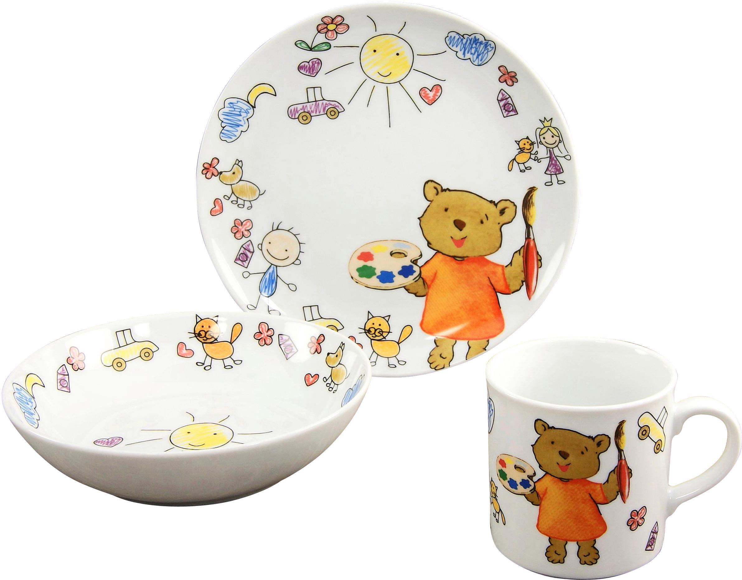 CreaTable Kindergeschirr-Set Teddy (3-tlg.), Porzellan weiß Kinder Kindergeschirr Geschirr, Tischaccessoires Haushaltswaren Geschirr-Sets