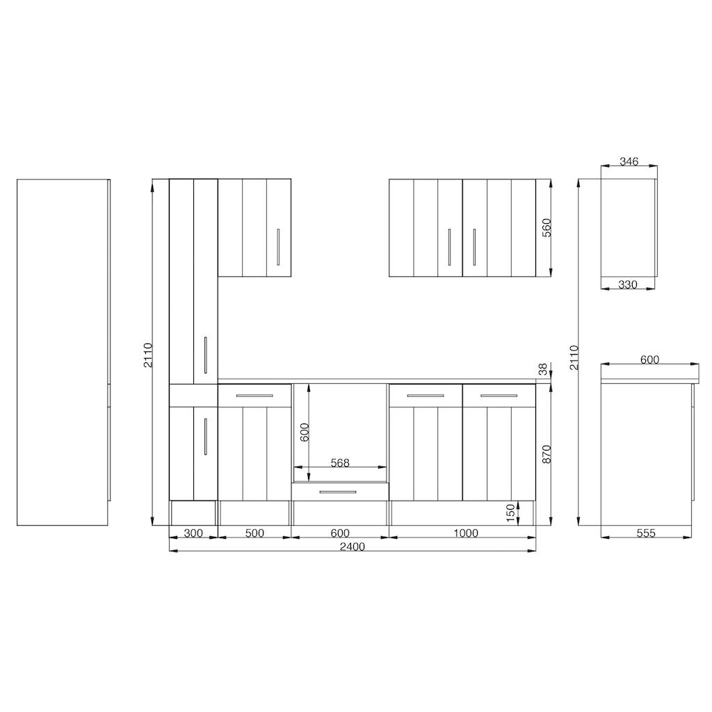 RESPEKTA Küchenzeile »Ulm«, mit E-Geräten, Breite 240 cm