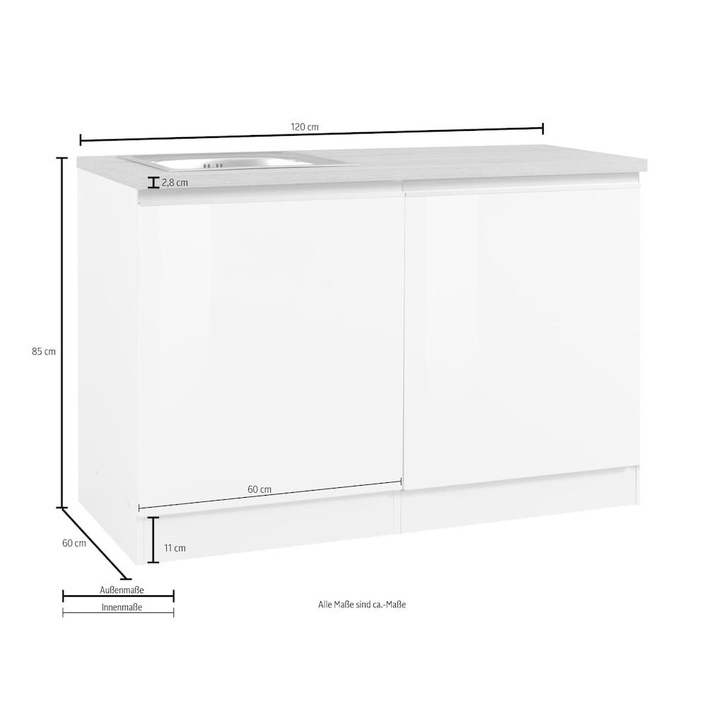 HELD MÖBEL Spülenschrank »Ohio«, Breite 120 cm, mit Tür/Sockel für Geschirrspüler