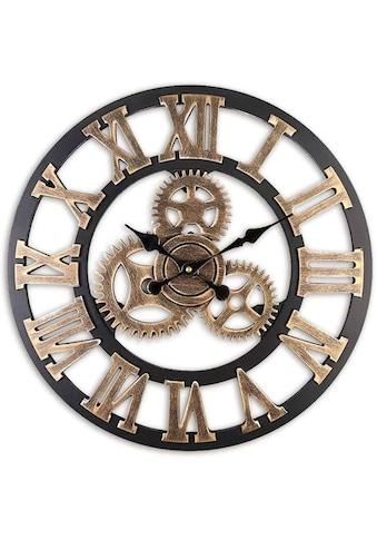 Wall-Art Wanduhr »MDF Holz Wanduhr Zahnrad Design Schwarz Gold Ø 40cm große Uhr mit... kaufen