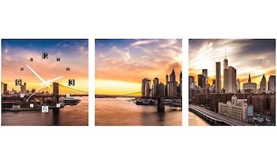 Conni Oberkircher´s Bild »Bridge Sunset«, Brücken, (Set), mit dekorativer Uhr kaufen