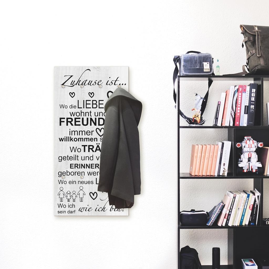 Artland Garderobe »Wo die Liebe wohnt«, platzsparende Wandgarderobe aus Holz mit 6 Haken, geeignet für kleinen, schmalen Flur, Flurgarderobe