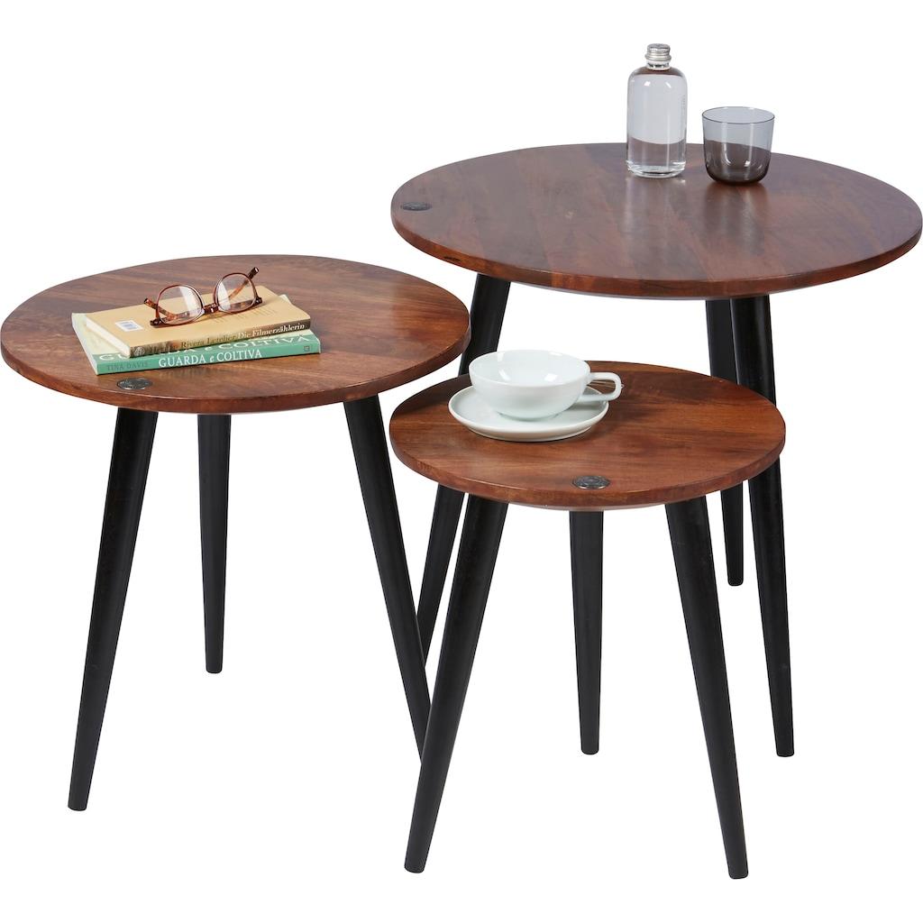 TOM TAILOR Beistelltisch »T-WOOD TABLE MEDIUM«, mittelgroßer Beistelltisch mit Knopfdetail, dunkles Mangoholz und schwarze Beine