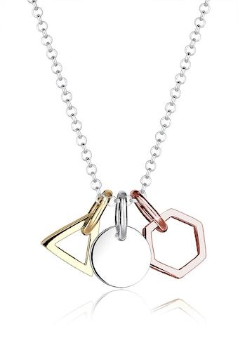Elli Kette mit Anhänger »Geo Dreieck Hexagon Kreis Tricolor Silber« kaufen