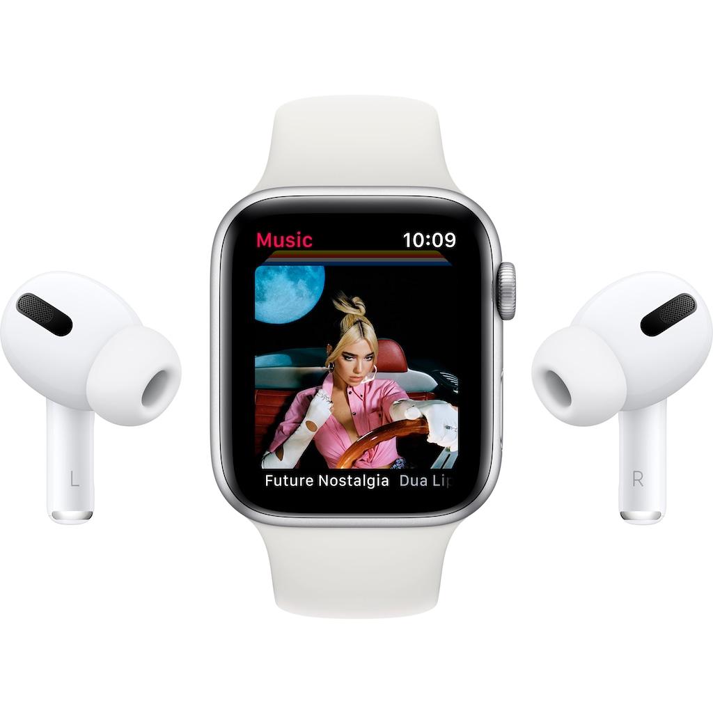 Apple Watch »Series 6 GPS + Cellular, Edelstahlgehäuse mit Sportarmband 40mm« (, Watch OS, inkl. Ladestation (magnetisches Ladekabel)