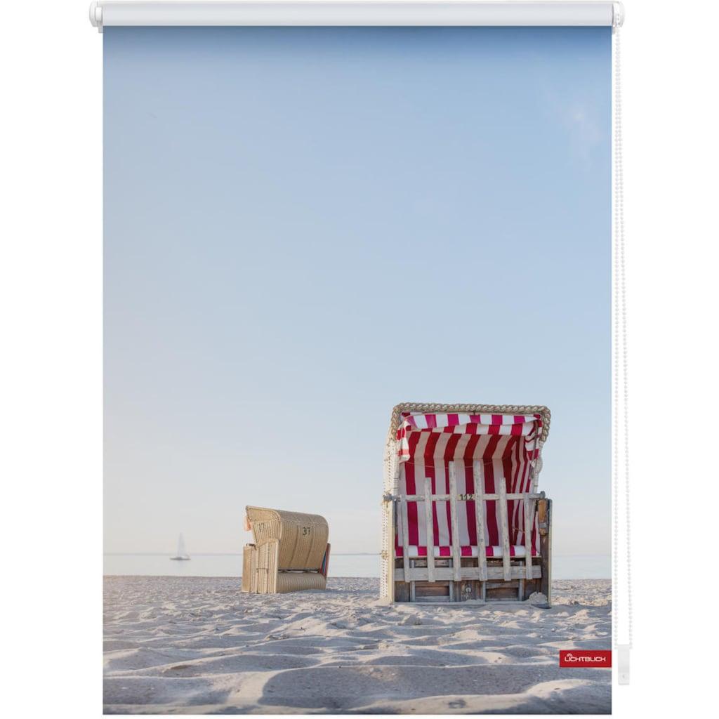 LICHTBLICK ORIGINAL Seitenzugrollo »Rollo Klemmfix, ohne Bohren, Verdunkelung, Strandkorb - Blau Beige«, verdunkelnd, Verdunkelung, freihängend