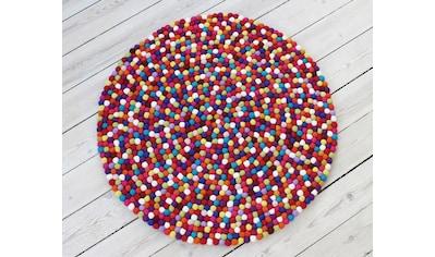 Wooldot Wollteppich »Mixed Color«, rund, 23 mm Höhe, Filzkugel-Teppich, reine Wolle,... kaufen