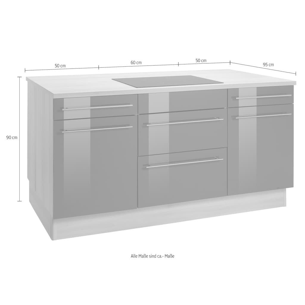 OPTIFIT Kochinsel »Bern«, mit E-Geräten, Stellbreite 160 x 95 cm, mit höhenverstellbaren Stellfüßen, mit Metallgriffen