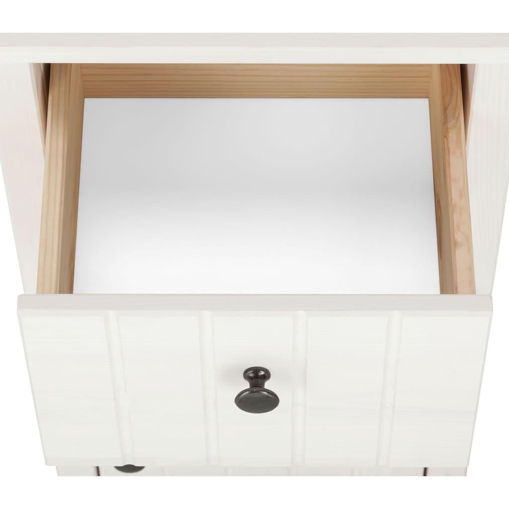 Home affaire Badmöbel-Set »Westa«, (Set, 4 St.), aus Hochschrank, Waschbeckenunterschrank, Unterschrank, Hängeschrank aus Massivholz, Kiefernholz, Metallgriffen, pflegeleichte Oberflächen