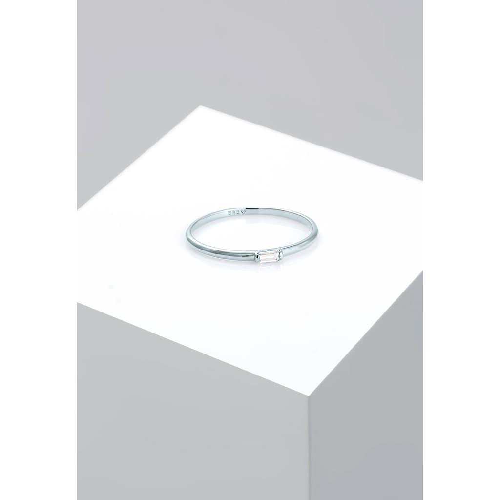 Elli Fingerring »Stabelring Topas Rechteck Verlobung 585 Weißgold«