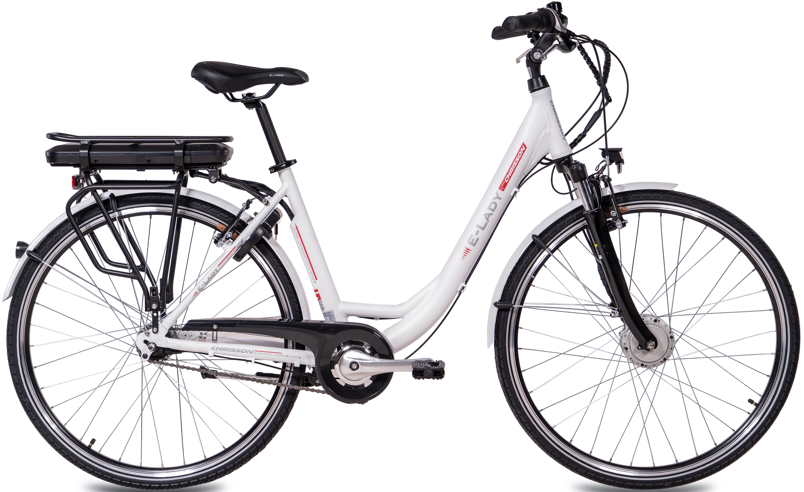 Chrisson E-Bike E-LADY, 8 Gang, Shimano, SG-C3000-7C, Frontmotor 250 W weiß E-Bikes Fahrräder Zubehör
