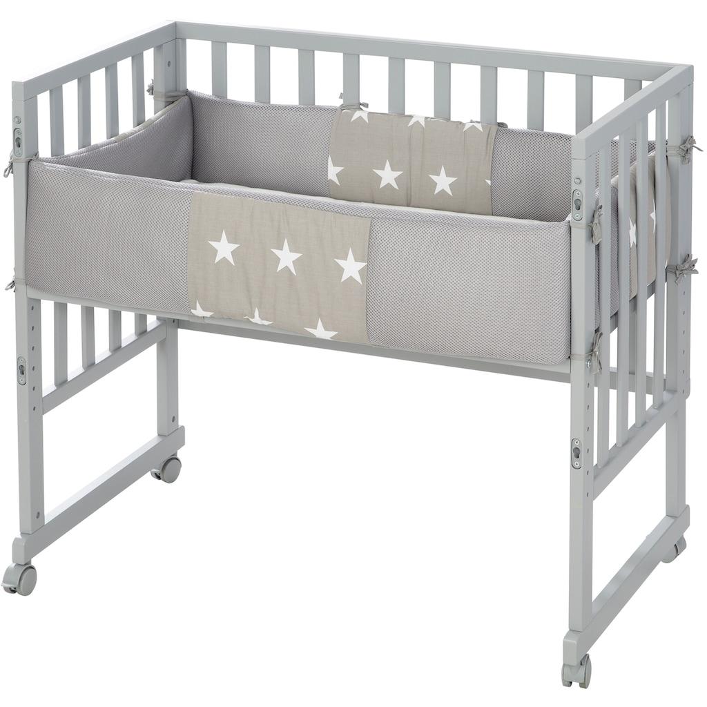 roba® Stubenbett »Safe Asleep® 2in1, taupe, Little Stars«, mit 4 Rollen, Matratze, Nestchen und Sicherheitsbarriere
