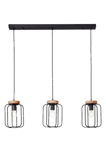 Brilliant Leuchten Pendelleuchte »Tosh«, E27, 1 St., 3flg Reihe antik holz/schwarz korund kaufen