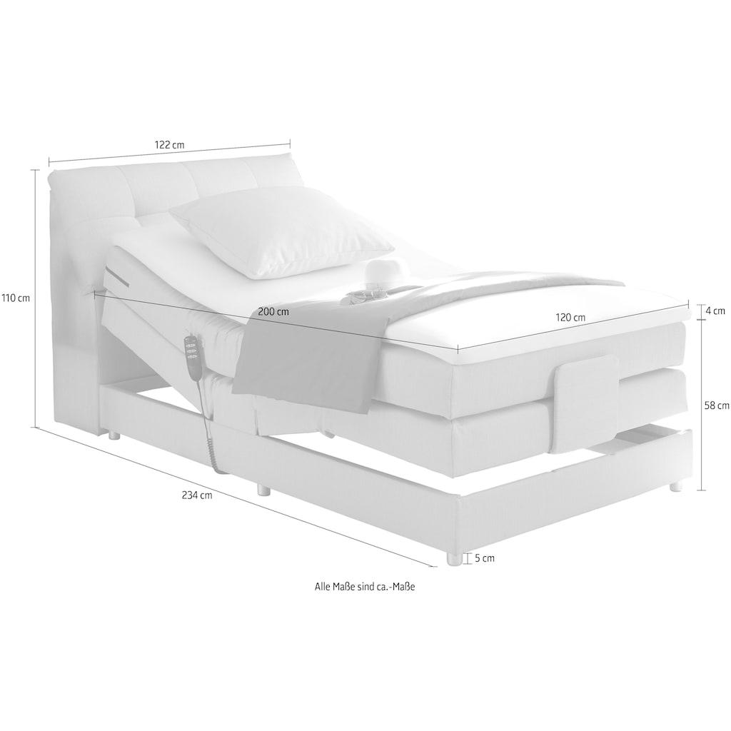 Boxspringbett »Concord«, inkl. Motor, Stauraum im Kopfteil und Topper