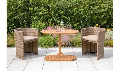 MERXX Balkonset »Ancona«, (5 tlg.), Akazienholz Tisch: 100x50 cm, 2 Sessel, inkl.... kaufen
