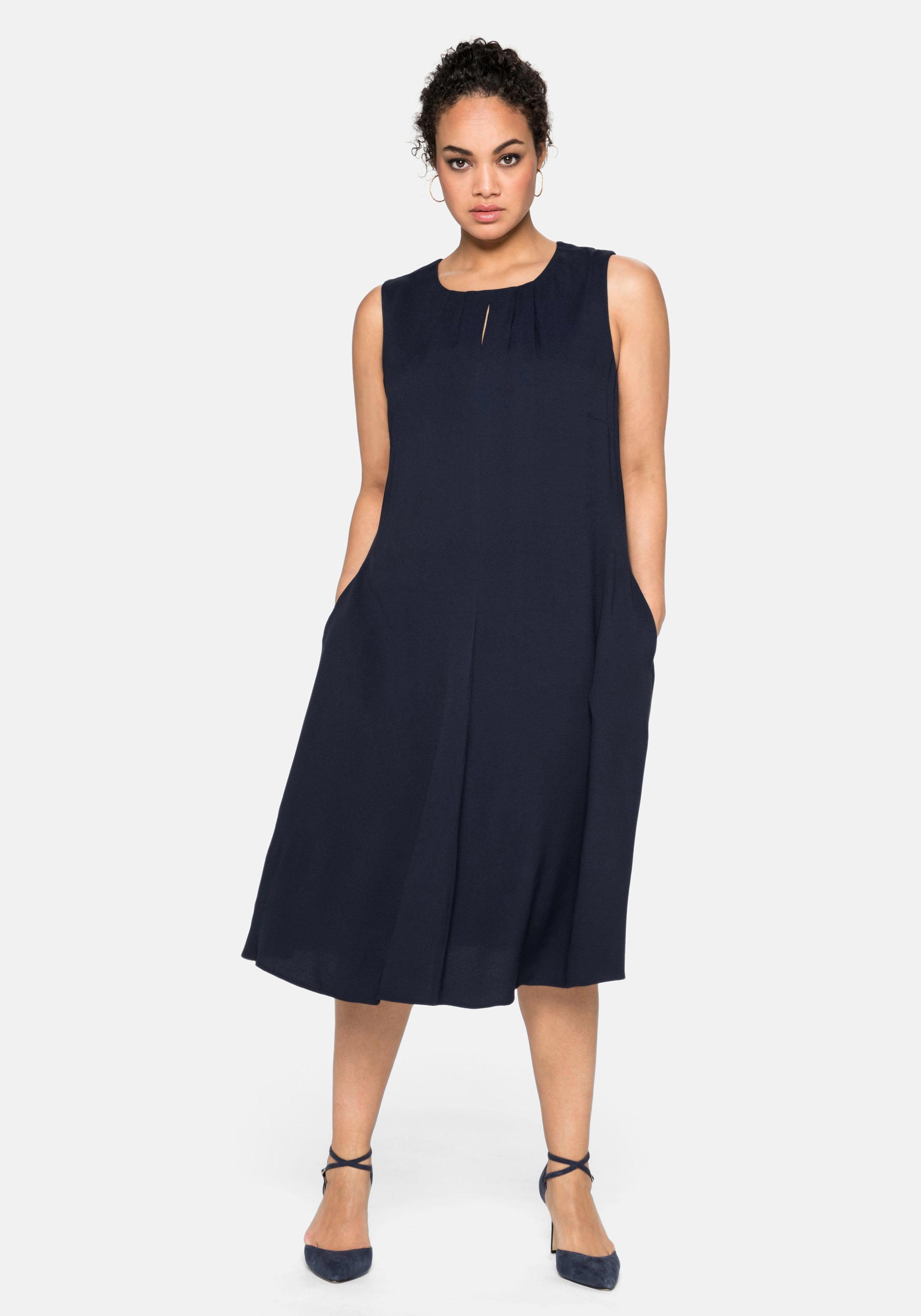 Sheego Abendkleid, mit Falten-Detail blau Damen Abendkleid Abendkleider Kleider