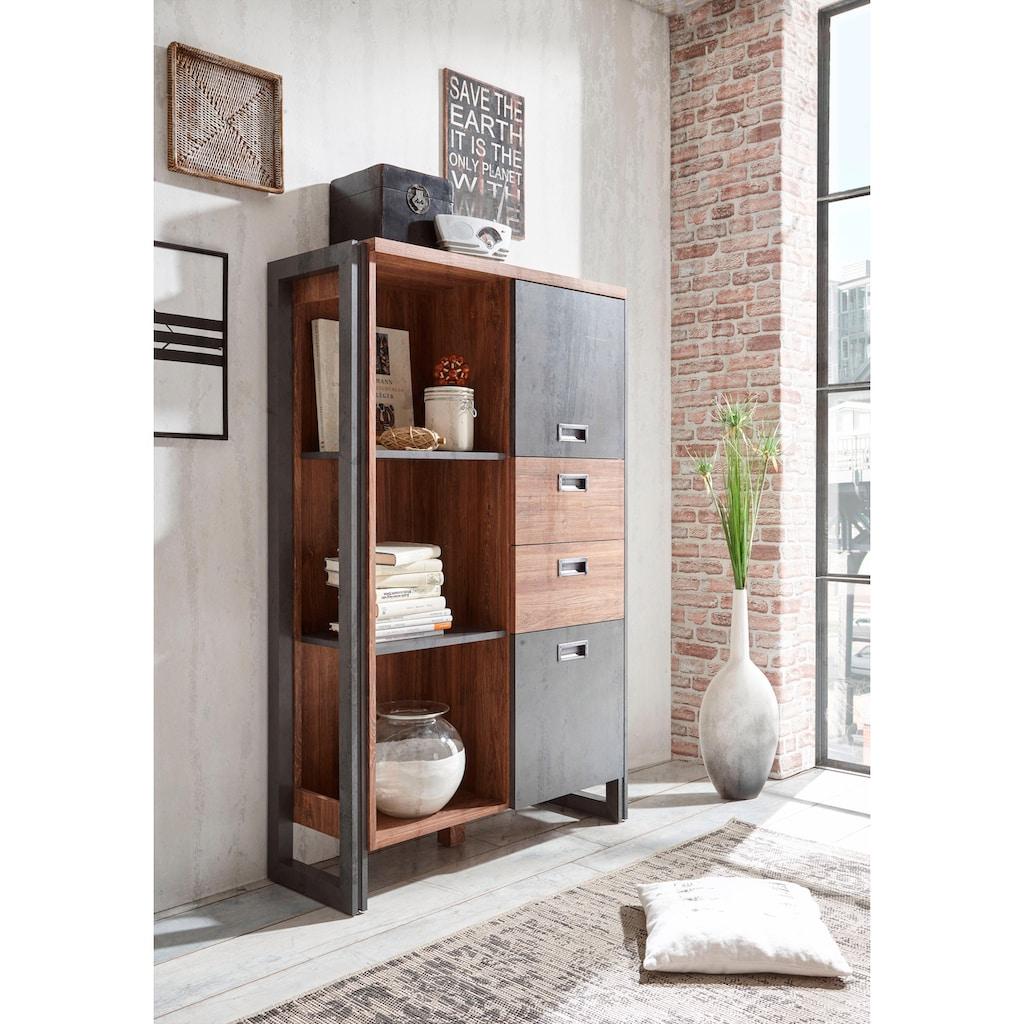 Home affaire Highboard »Detroit«, mit 2 Türen und 2 Schubladen, Höhe 140 cm, Industrial Look