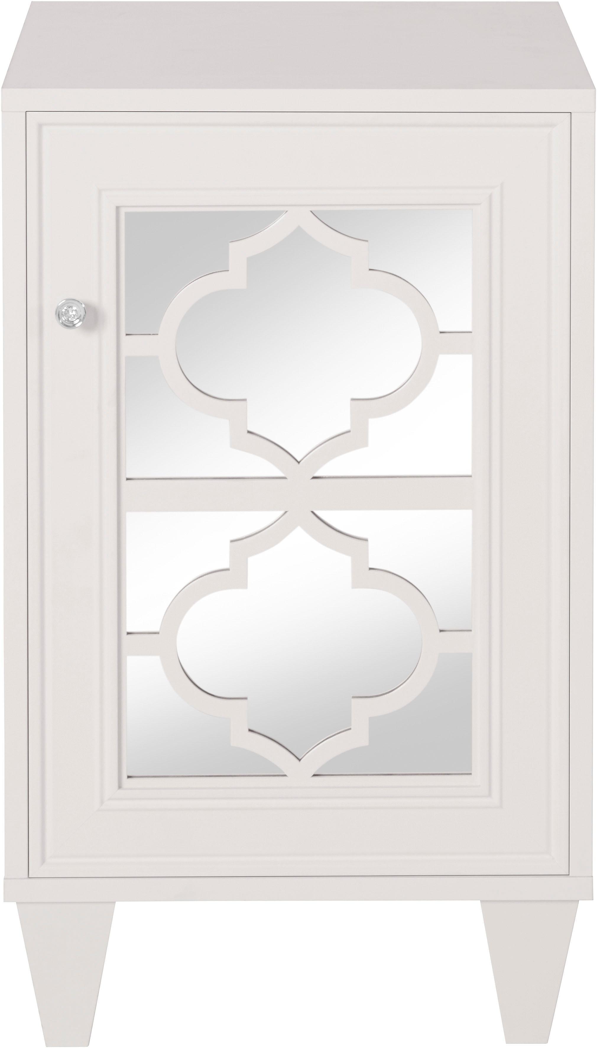 Leonique Nachttisch Jessica mit Spiegelfront und schön ausgefrästen Profilen | Schlafzimmer > Nachttische | Weiß | Leonique
