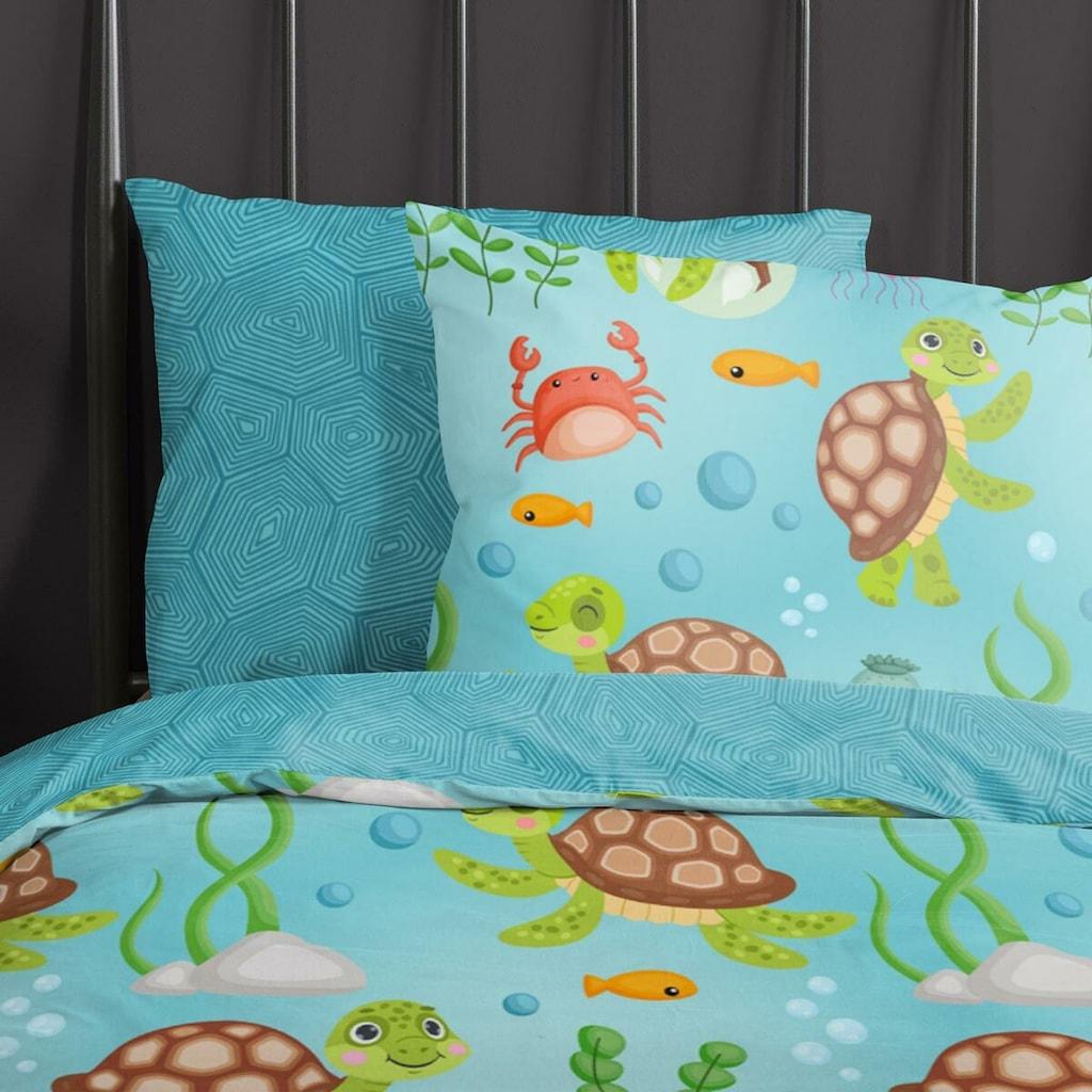 TRAUMSCHLAF Jugendbettwäsche »Schildkröten«, aus glatter 100% Baumwolle