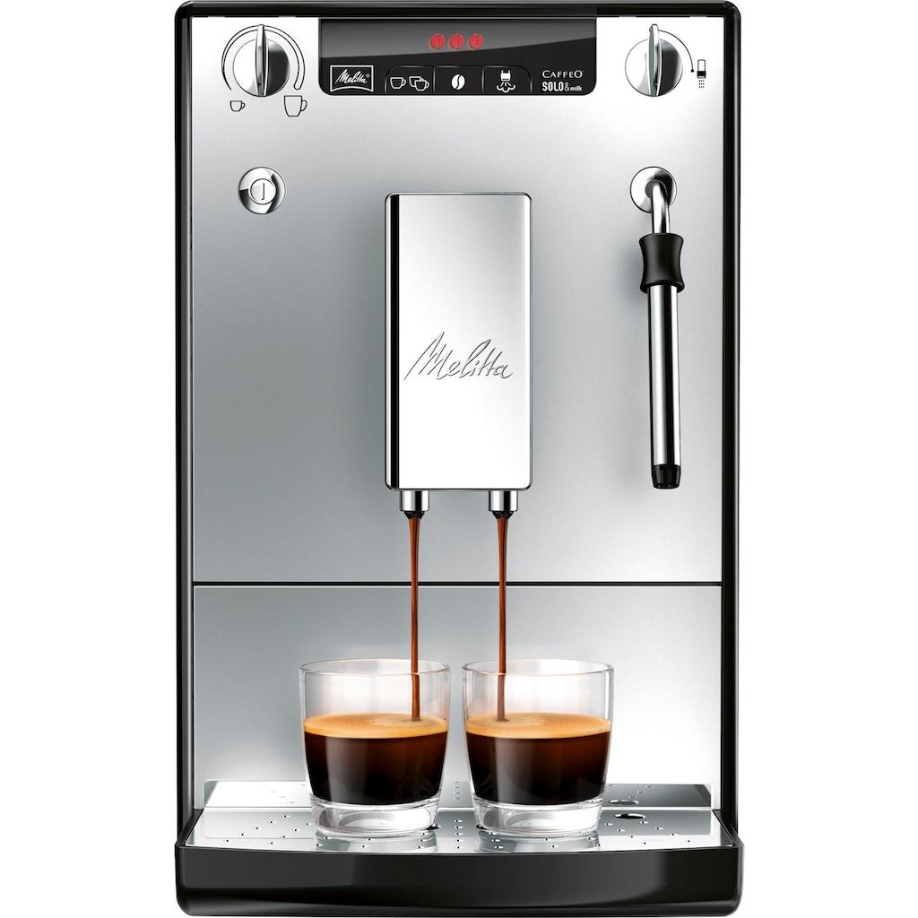 Melitta Kaffeevollautomat Solo & Milk silber/schwarz E953-102, 1,2l Tank, Kegelmahlwerk