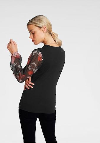 Melrose V-Shirt, mit trransparenten, bedruckten Ärmeln - NEUE KOLLEKTION kaufen
