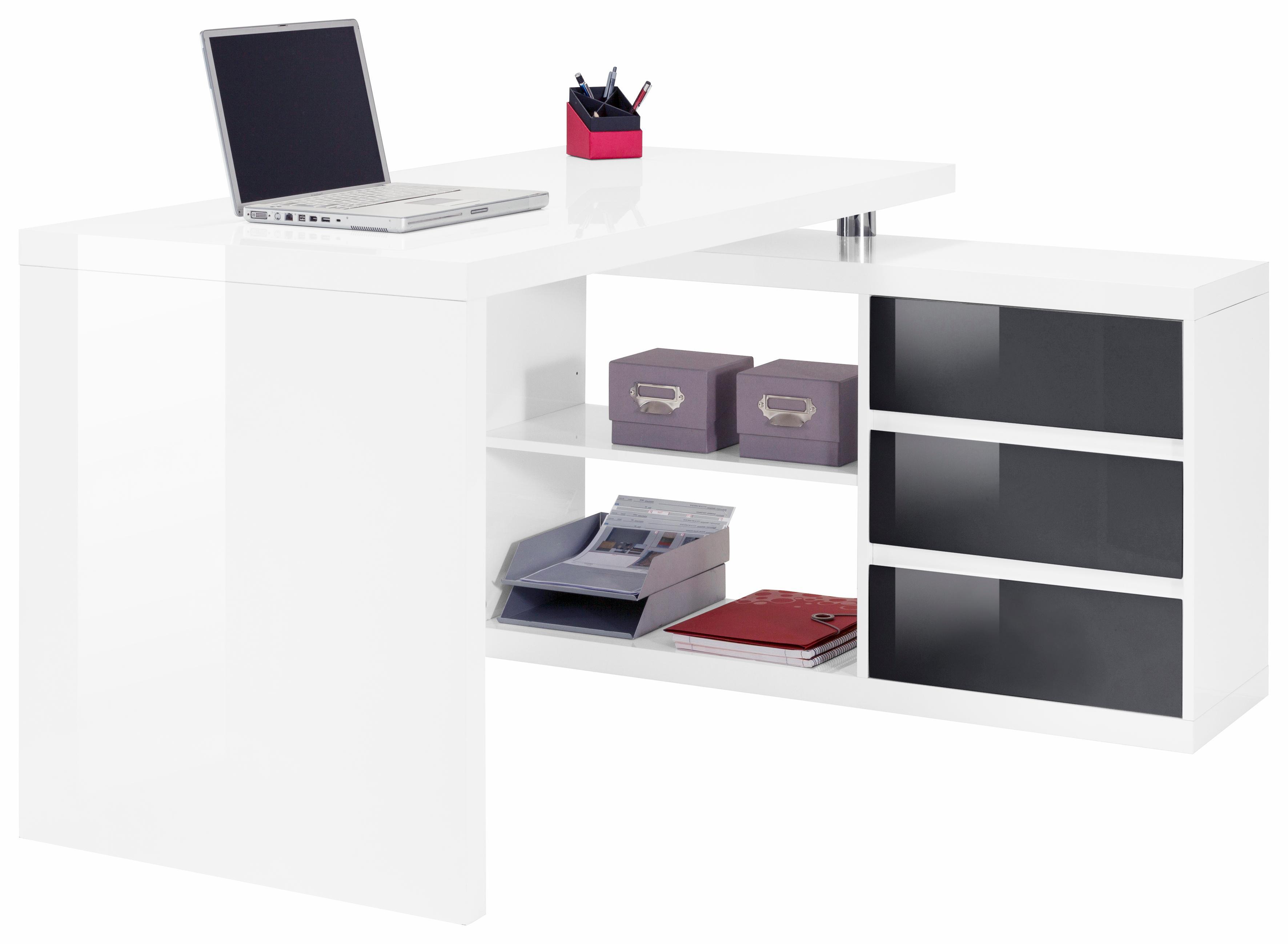 Winkel-Schreibtisch HMW Split mit Regalelement und 3 Schubkästen