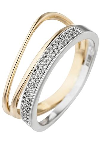 JOBO Diamantring, 585 Gold bicolor mit 51 Diamanten kaufen