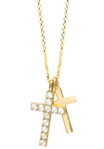 NANA KAY Kette mit Anhänger »Gold, Kreuz, FG083S«, mit Zirkonia (synth.) kaufen